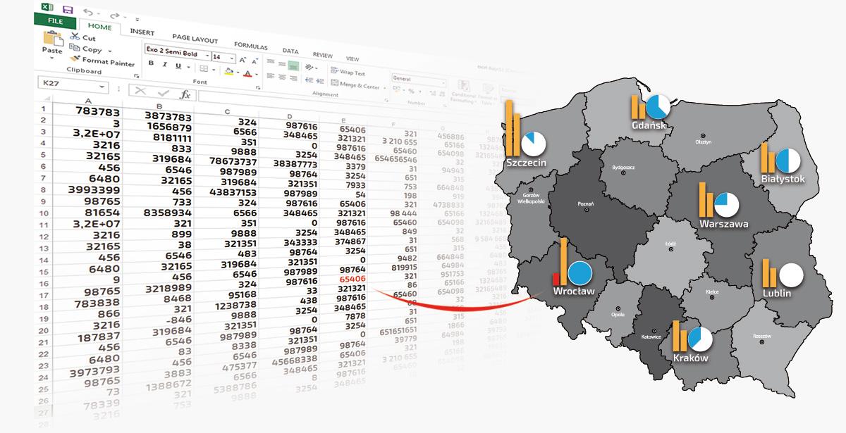 Dane z Excel na mapie polski.